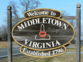 Middletown VA Welcome Sign